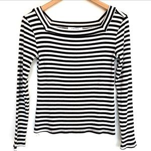 Anthropologie FRAME Striped Square Bateau Top